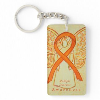 Multiple Sclerosis Angel Awareness Ribbon Keychain