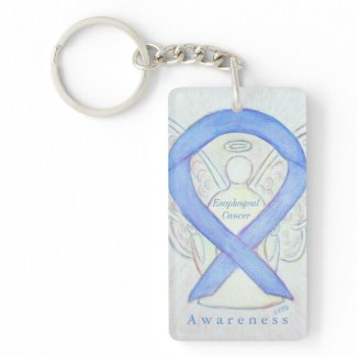Esophageal Cancer Angel Awareness Ribbon Keychain