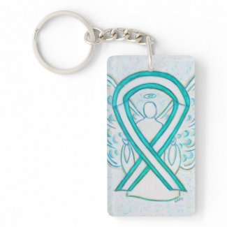 Cervical Cancer Awareness Ribbon Angel Key chain