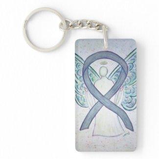 Gray Awareness Ribbon Angel Key chain