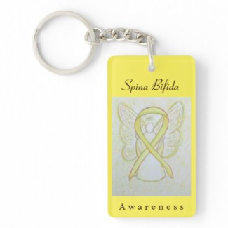 Spina Bifida Awareness Ribbon Angel Key Chain