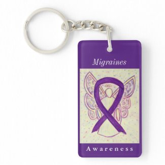 Migraines Awareness Ribbon Guardian Angel Keychain
