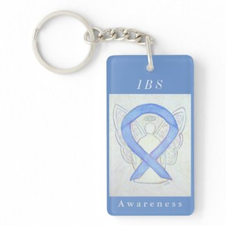 Irritable Bowel Syndrome Awareness Ribbon Keychain