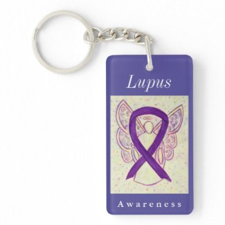 Lupus Awareness Purple Ribbon Angel Key Chain