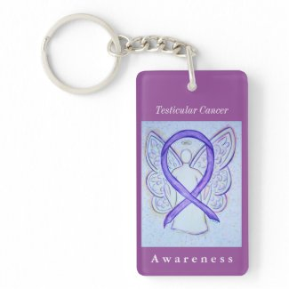 Testicular Cancer Awareness Ribbon Angel Keychain