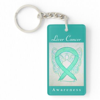 Liver Cancer Awareness Jade Ribbon Angel Key Chain