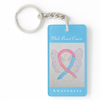 Male Breast Cancer Awareness Ribbon Angel Keychain