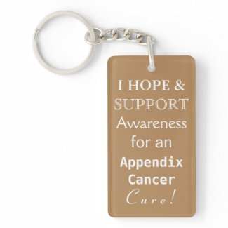 Appendix Cancer Awareness Amber Ribbon Keychain