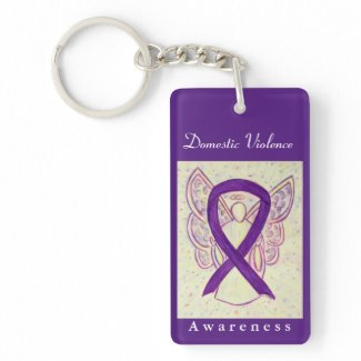 Domestic Violence Awareness Ribbon Angel Keychain