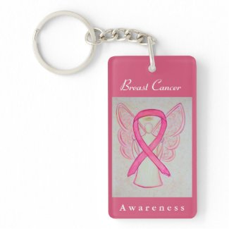 Breast Cancer Awareness Pink Ribbon Angel Keychain