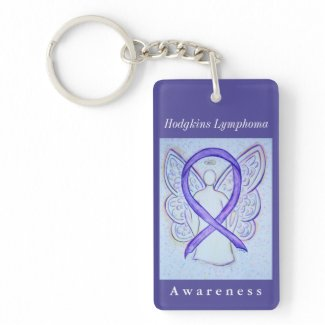 Hodgkins Lymphoma Awareness Ribbon Angel Key Chain