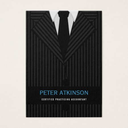 Professional Accountant Business Cards Black and Gray Pinstripe Suit and Tie Profilecards