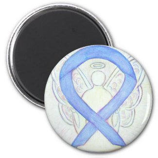 Periwinkle Awareness Ribbon Angel Art Magnets