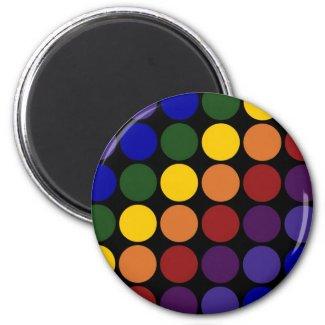 Rainbow Polka Dots on Black 2 Inch Round Magnet