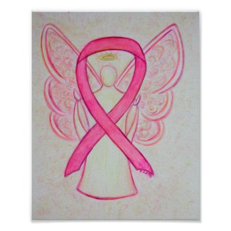 Pink Awareness Ribbon Angel Poster Art Print