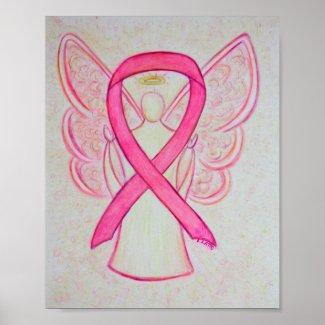 Pink Awareness Ribbon Angel Poster Art Print