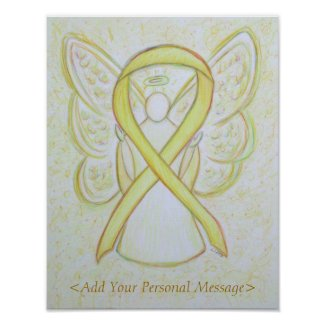 Yellow Awareness Ribbon Guardian Angel Art Print