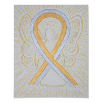 Silver and Gold Awareness Ribbon Angel Poster