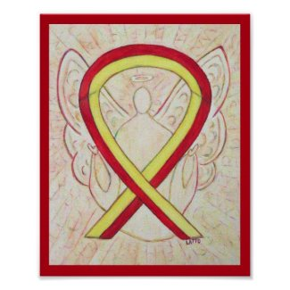 Red and Yellow Awareness Ribbon Angel Poster