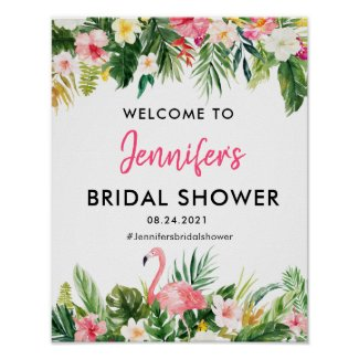 Tropical Flamingo Bridal Shower Welcome Poster