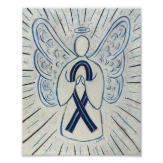 Blue and Black Awareness Ribbon Angel Poster Print