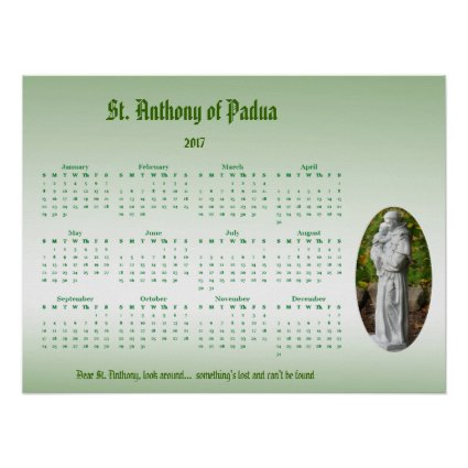 St. Anthony 2017 Green Catholic Calendar Poster