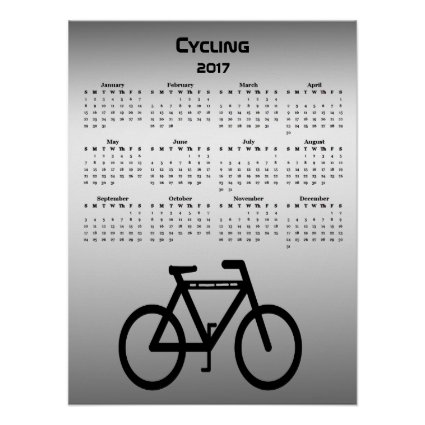 Black Silver Bicycle 2017 Sports Calendar Poster