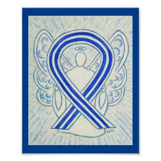 Blue and White ALS Awareness Ribbon Angel Poster