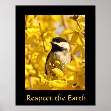 Earth Day Chickadee Bird in Yellow Flowers Print