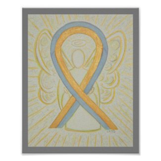 Gray and Gold Awareness Ribbon Angel Poster
