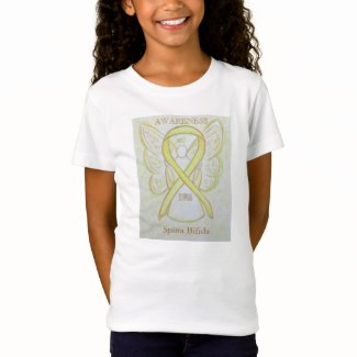 Spina Bifida Yellow Awareness Ribbon Angel Shirt