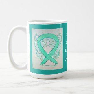 Liver Cancer Awareness Ribbon Angel Custom Mug