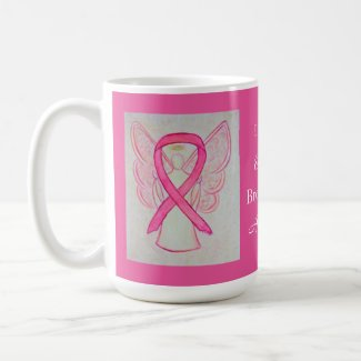 Breast Cancer Awareness Ribbon Angel Custom Mug