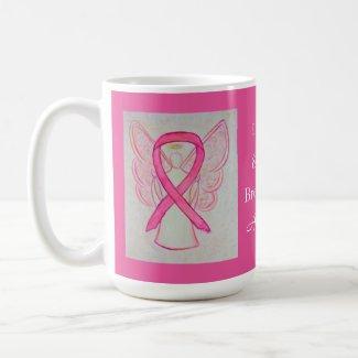 Breast Cancer Awareness Ribbon Angel Custom Mug