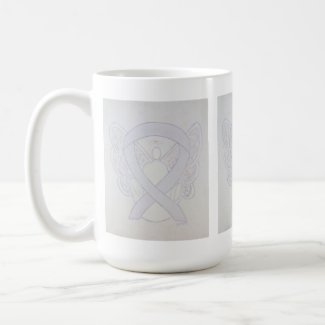Pearl Awareness Ribbon Angel Art Mug