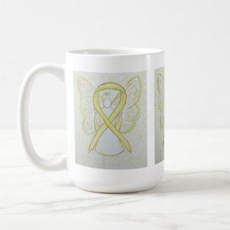 Yellow Awareness Ribbon Angel Art Coffee Mug