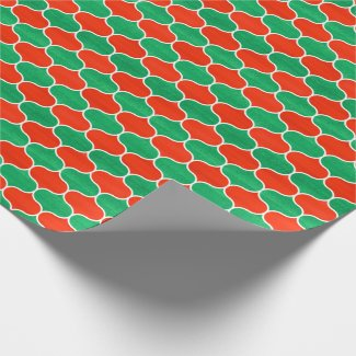 Painted Red and Green Christmas Ogee Pattern Wrapping Paper