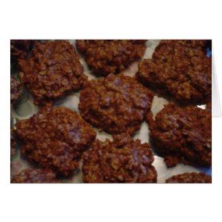Chocolate No-Bake Cookies Recipe Greeting Card