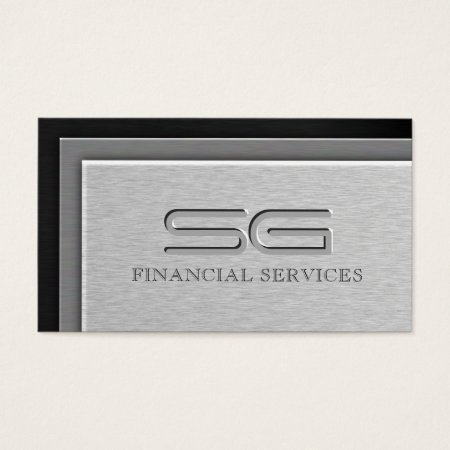 Multicolored Layered Steel Metal Financial Adviser Business Cards Sample