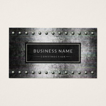 Cool Black and Gray Distressed Rough Steel Metal Background with Rows of Rivets Building and Construction Business Cards Template