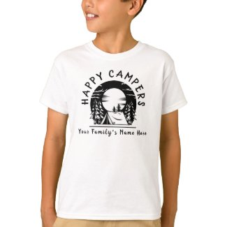 Family Camping Trip Happy Campers Black White Name T-Shirt