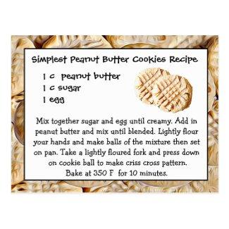 Peanut Butter Cookies Recipe Card Postcard