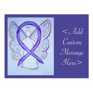 Violet Awareness Ribbon Angel Custom Art Postcard