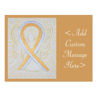 Silver and Gold Awareness Ribbon Angel Postcard