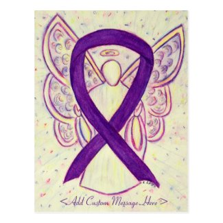 Purple Awareness Ribbon Angel Custom Postcard