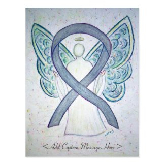Gray Awareness Ribbon Angel Custom Postcard