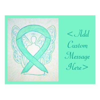 Light Jade Green Awareness Ribbon Angel Postcard