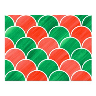 Red and Green Scale Pattern Christmas Postcard