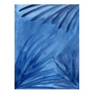 Abstract Blue Rays Watercolor Painting Postcard