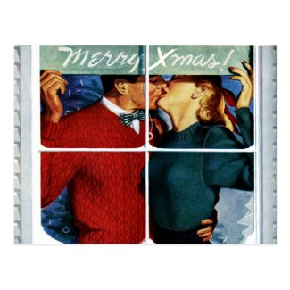 Retro Kissing Christmas Couple Postcard